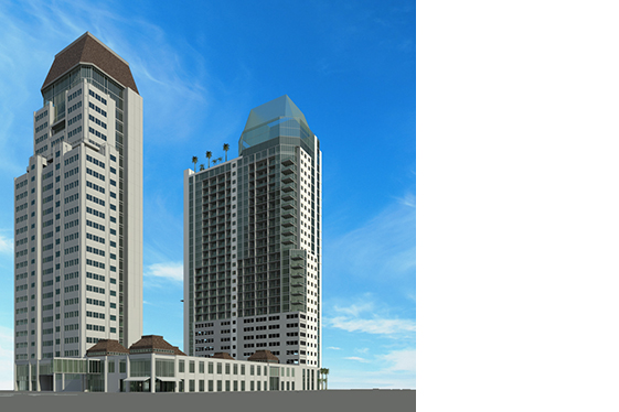 Conceptual Rendering for Mixed Use Residential Towers