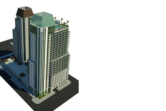 Bird's Eye View of Mixed Use Residential Tower